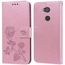 Luxury Leather Flip Book Case for Sony Xperia L2 Dual H3311 H3321 H4311 Rose Flower Wallet Stand Cas