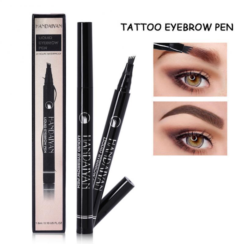 1 Uds cuatro tenedor cabeza lápiz de cejas impermeable duradera líquido para cejas tatuaje pluma plegable con la maquinilla de afeitar de la ceja TSLM1