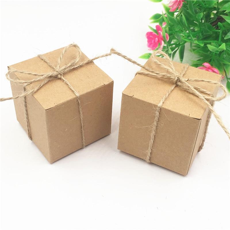 Lote de 12 cajas de papel Kraft pequeñas, color marrón, para Tartas, huevos Dulces, galletas, cajas de regalo con cuerdas de cáñamo
