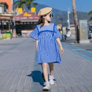 Cultiseed Girls Summer Flare Sleeve Plaid Princess Party Dress Clothes Big Children Kids Vintage Cute Holiday Loose Casual Gowns