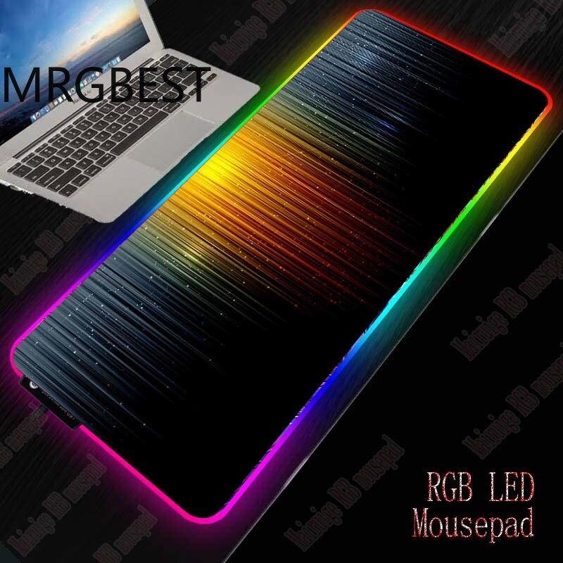 Mrgbest abstrato gaming rgb grande gamer lockedge mouse mat computador mousepad led backlight xxl pc teclado mesa esteira 40x9 0/30x80