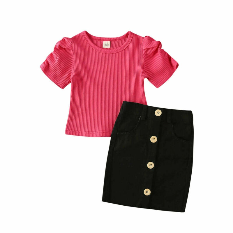 AA 2PCS Toddler Clothing Kids Baby Girl Tops T-Shirt Button Mini Skirt Outfits Clothes Summer Girls Sets Clothing