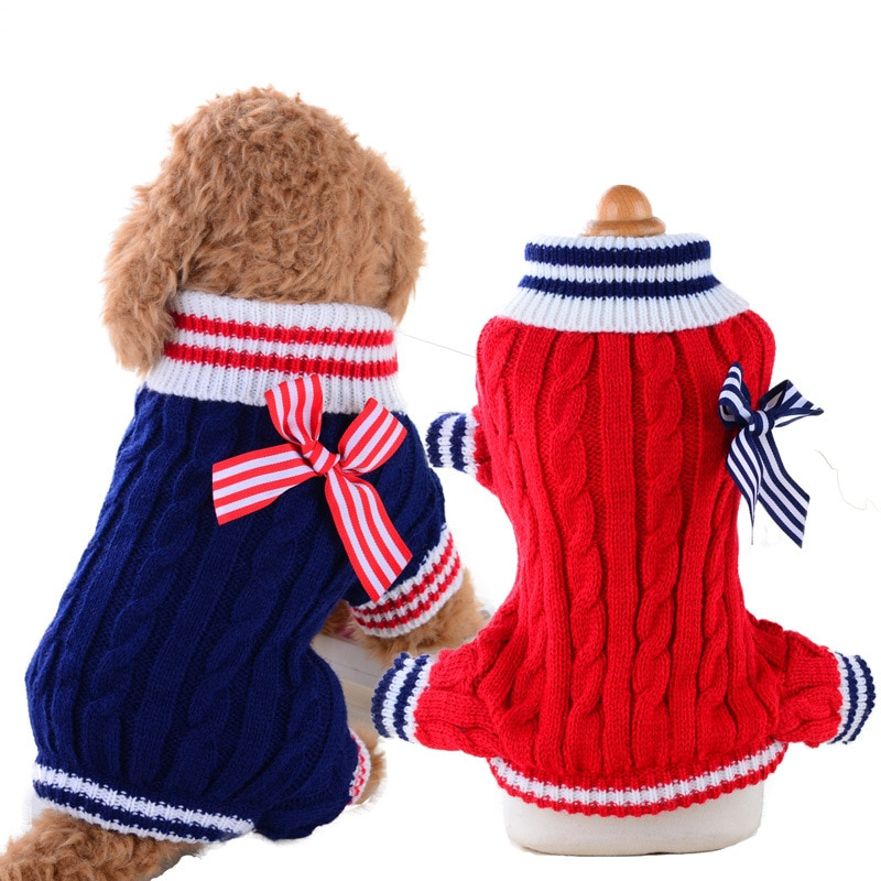 Camisola do cão do inverno cães pequenos roupas filhote de cachorro quente suéteres macios para o cão de estimação tricô crochê roupas cães camisola suprimentos para animais de estimação