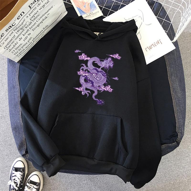 Dragon Print sweatshirt Women hoodie Cute Hip hop Oversized kawaii womens tops clothes oversized crewneck
