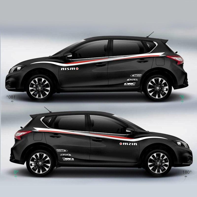 Carreras deporte rayas para Nissan Tiida Mark Levinson Exterior puerta lateral etiqueta coche película de vinilo