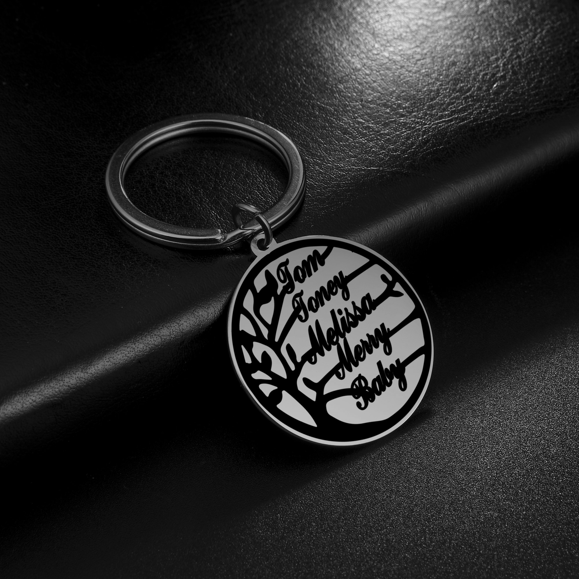My Shape Stainless Steel Name Custom Keychain Family Tree of Life Personalized Customized Gold Silver Color Key Chain Ring Gift недорого