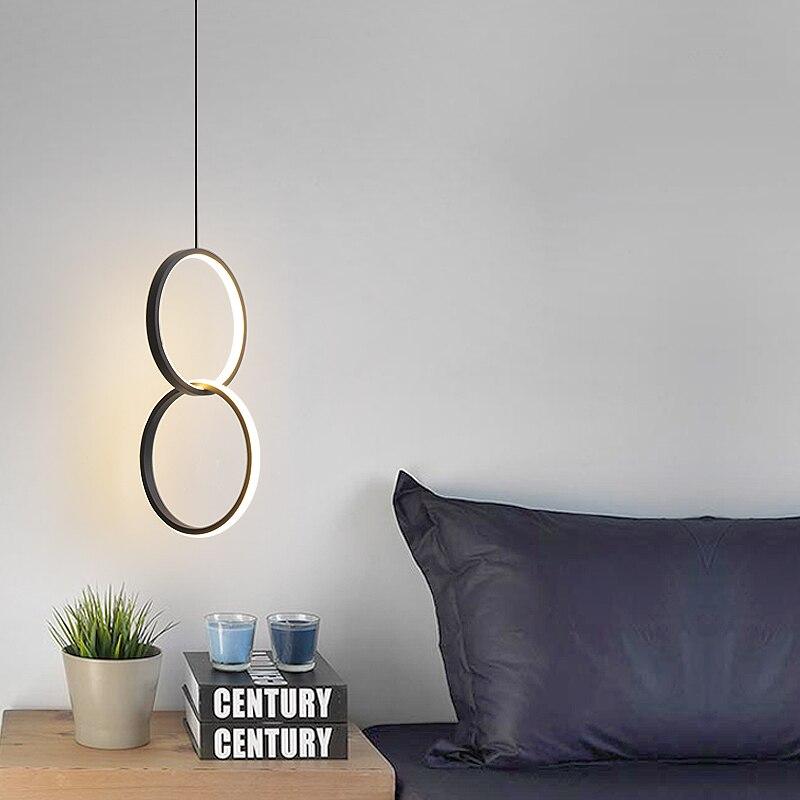 الحديثة قلادة عصابة ضوء غرفة نوم غرفة المعيشة شنقا مصباح السرير Hanglamp مطعم بار الإضاءة الأبيض/الأسود قلادة LED مصباح