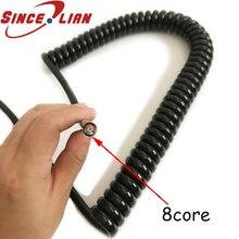 Fil Extensible spirale câble réseau 8 Core 0,2mm2   Câble découteurs, ligne de printemps en spirale, données fil PU spirale Extensible 1m 2m 3m