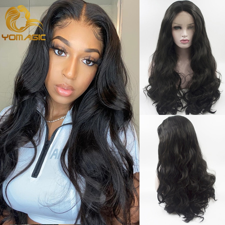 Yomagic Hair Body Wave Lace Front Wigs for Women Black Color Synthetic Hair Glueless Lace Wigs with