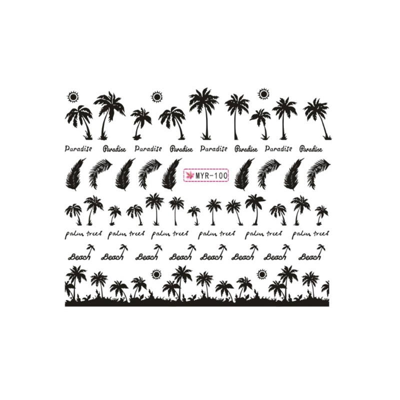 1 Sheet Nail Polish Sticker Summer Flower Flamingo Design Stickers for Nails Adhesive DIY Manicure Slider Nail Art Sticker