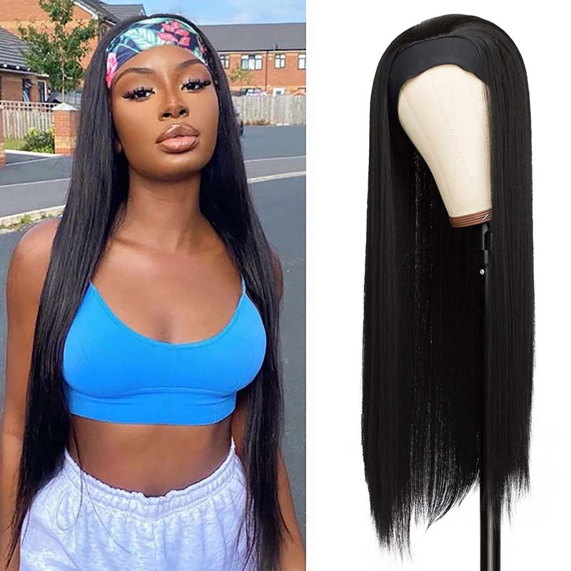 Straight Headband Wig for Women Black Synthetic Headband Wig with Hair Band Natural Look Headband Wig for Daily Use And To Party
