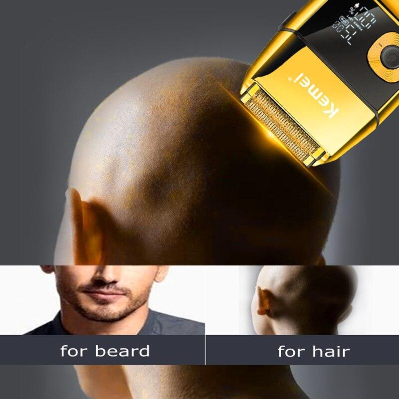 Original metal housing barber pro beard hair electric shaver for men rechargeable electric razor bald head shaving machine set enlarge