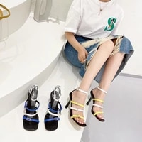 one word buckle womens fashion sandals open toe tide 2021 summer new wild fairy style high heels stiletto color matching shoes