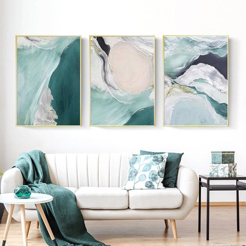Pintura al óleo abstracta de acuarela verde oscuro moderno nórdico sala de estar decoración de lujo tela de pintura de imagen póster de arte