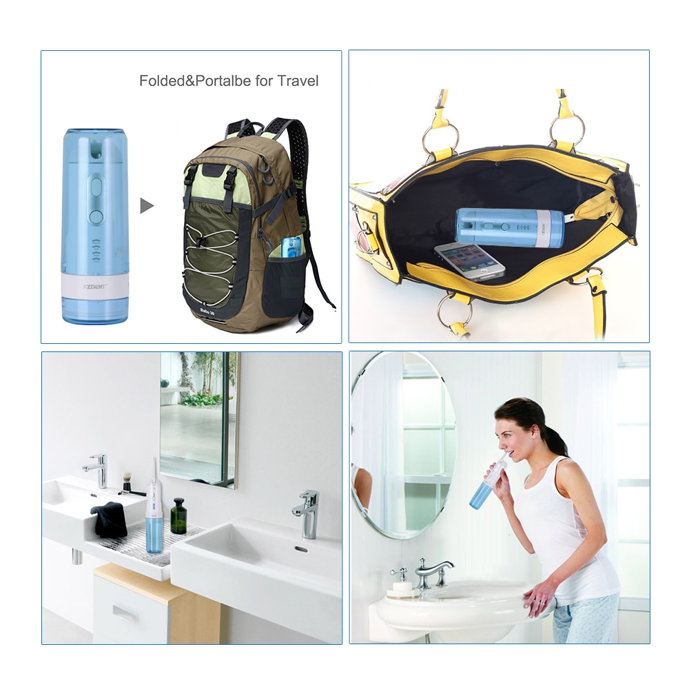 Afneembare Monddouche 4 Modi Reizen Elektrische Tanden Cleaner 5 Jet Tips Usb Charger 200Ml Water Tank IPX7 waterdicht enlarge
