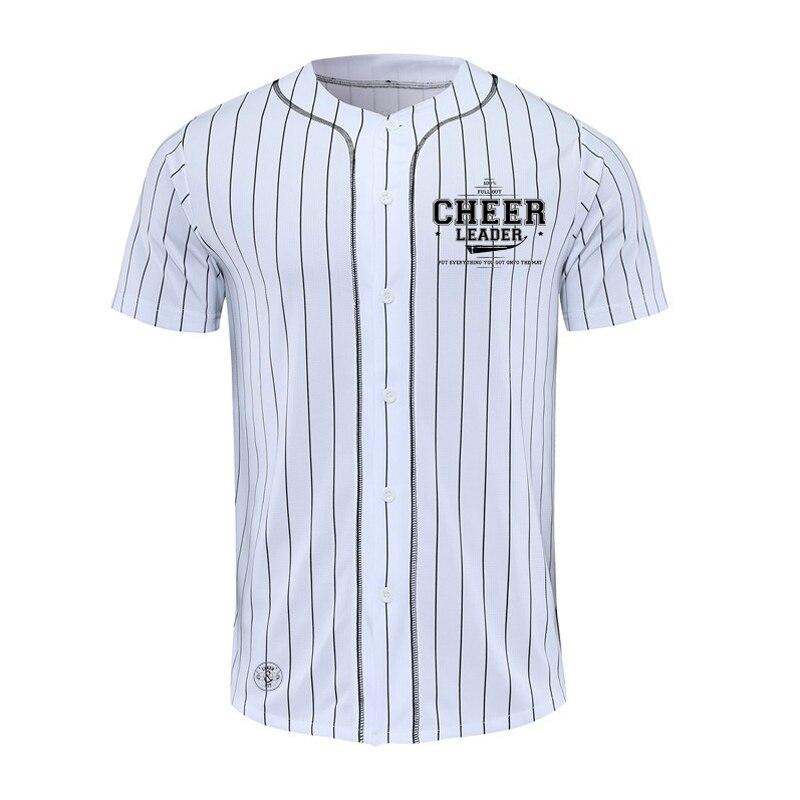 Nuevo diseño de Jersey de béisbol para hombre, a rayas, manga corta, calle, Hiphop, camisetas de béisbol, botón, cárdigan, negro, blanco, Camiseta deportiva