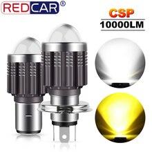 1Pcs CSP 10000Lm H4 LED Moto H6 BA20D P15D LED Moto รถจักรยานยนต์ไฟหน้าเลนส์สีเหลือง Hi Lo โคมไฟไฟหน้าหลอดไฟ