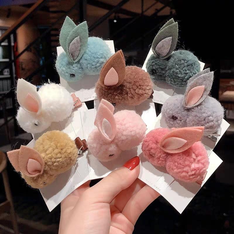 Conejo de peluche bonito mujeres niñas Clip de pelo banda elástica horquilla Cola de Caballo titular moda Niños Accesorios para el cabello lazo diadema