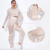 hollow out seamless yoga set sport outfits women cropped top high waist leggings workout gym suit fitness sport sets with mesh