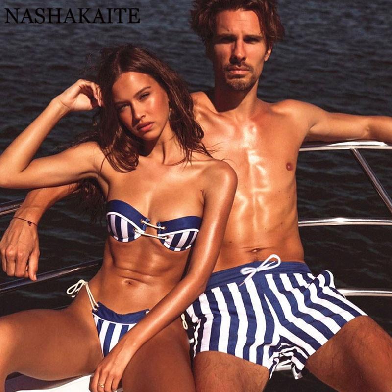 NASHAKAITE Passende paar outfits Striped Tasse Push-up Frauen Bikini Set Kordelzug Strand Männer Schwimmen Shorts Paar Badeanzug