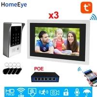 960p wifi video door phone ip video intercom touch screen access control system tuyasmart apppasswordic card remote unlock