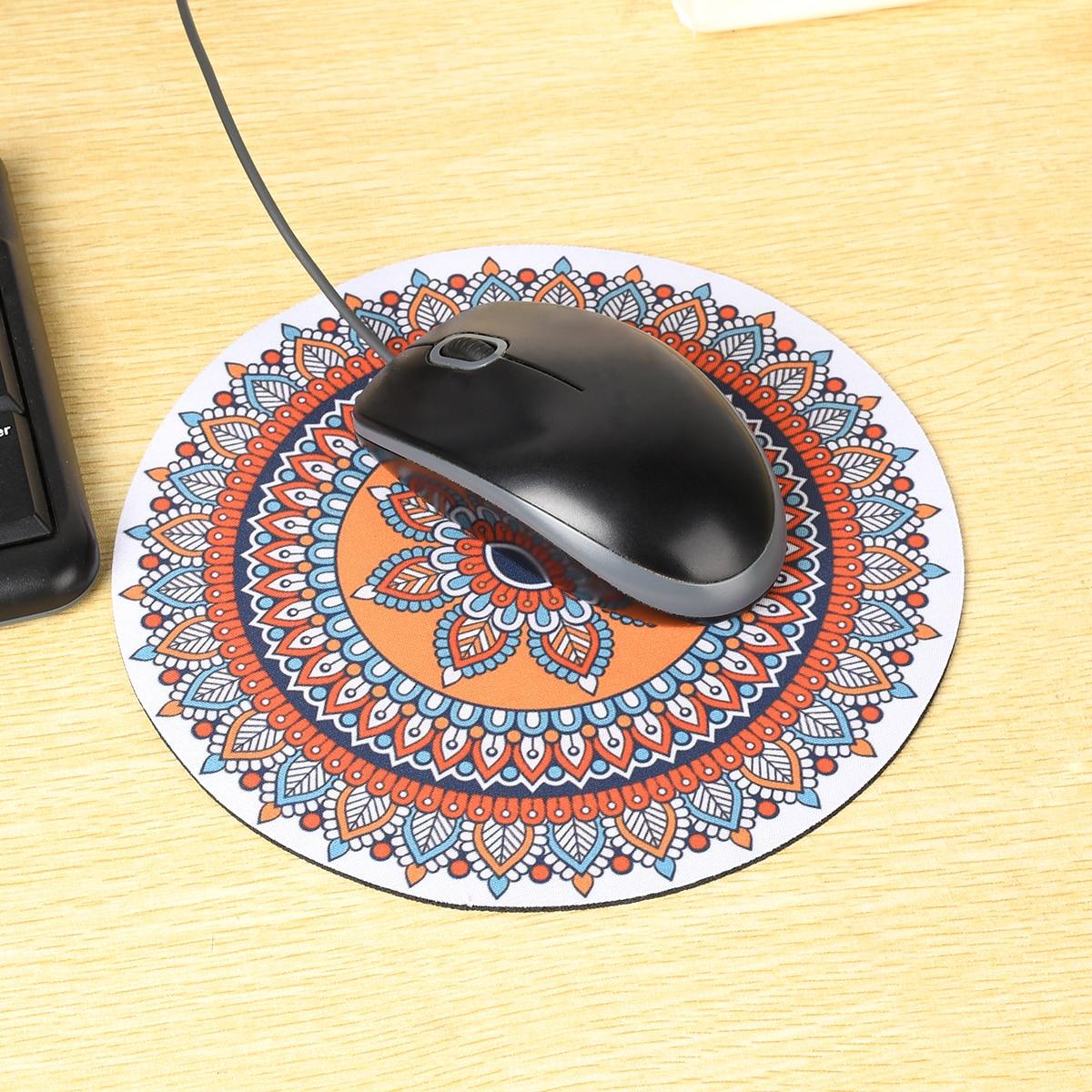 Alfombrilla de ratón Bohemia Vintage de 20CM, alfombrilla de ratón redonda para ordenador 3D, alfombrilla de ratón antideslizante
