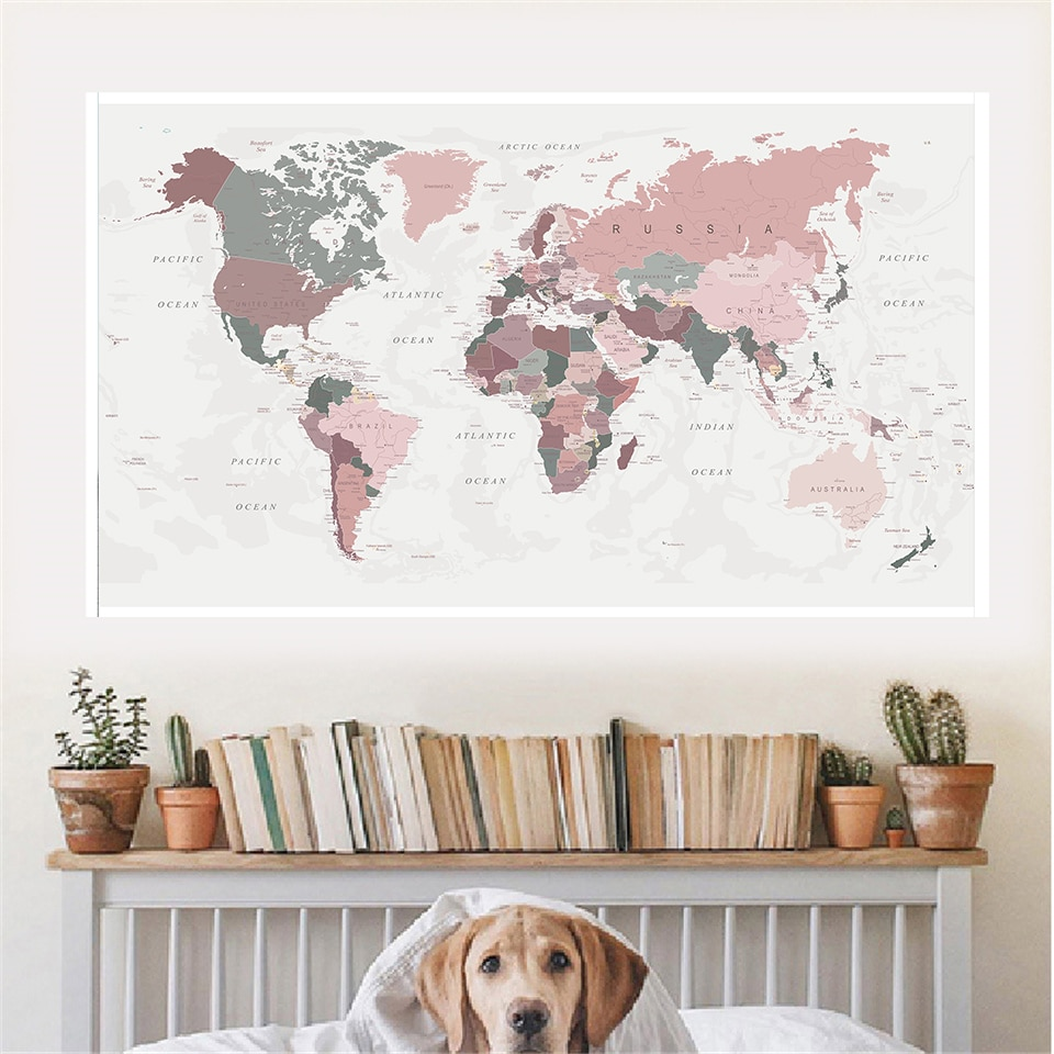 225*150 cm The Vintage World Map Non-woven Canvas Painting Retro Poster Wall Decor Living Room Home Decoration School Supplies