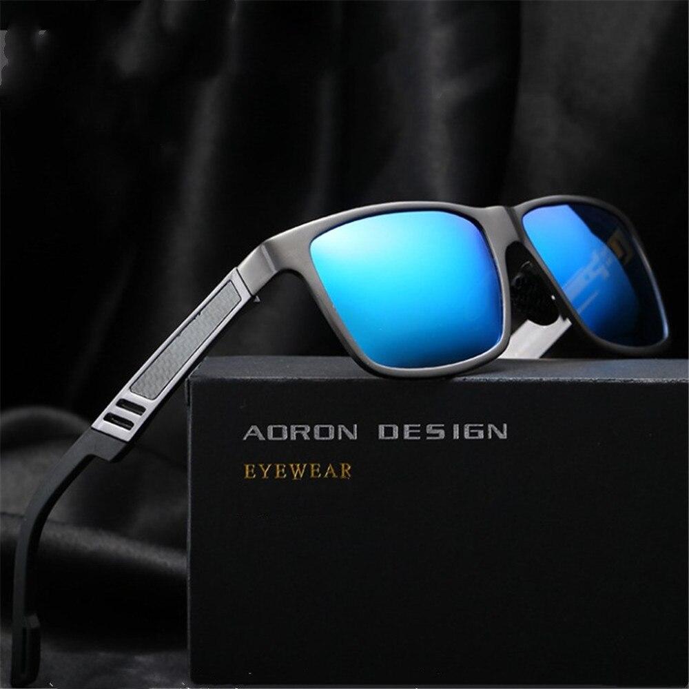Men's Aluminum Magnesium Polarized Colored Sunglasses Driving Outdoor Fishing Glasses Rectangle Shad