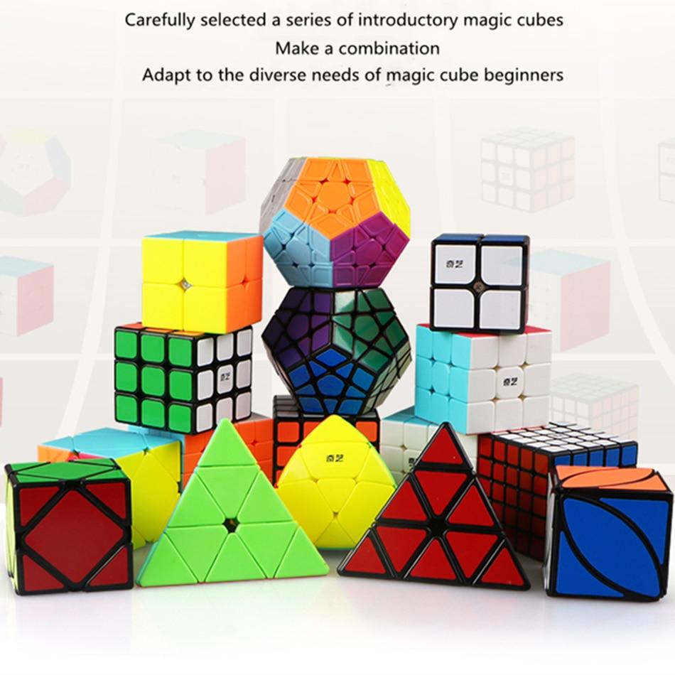 طقم مكعبات سحرية من Qiyi 2X2 3x3 4x4 5x5 هرم انحراف Megaminx مابل ليف Mastermorphix سرعة Cubo Magico للأطفال هدايا للأطفال