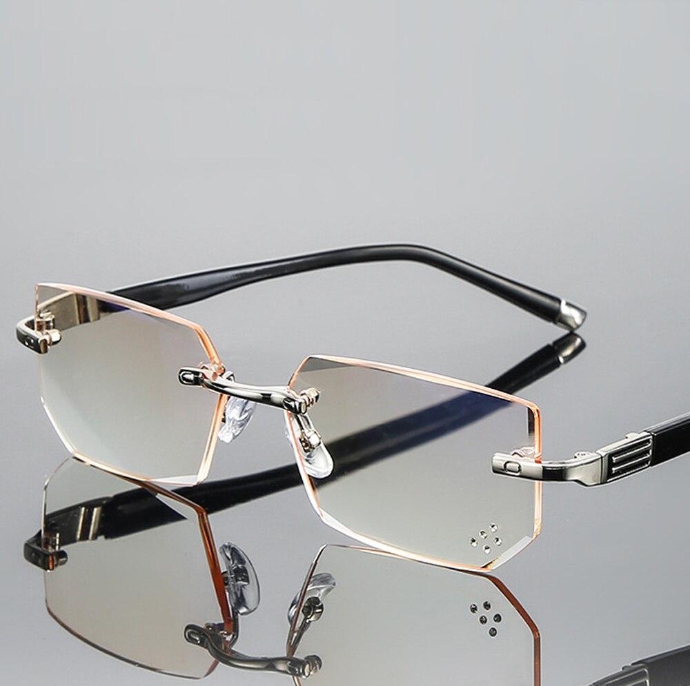 Diamant coupe lunettes de lecture femmes hommes haute qualité ultraléger sans monture Commercial Anti Blu Anti Fatigue + 0.75 + 1 + 1.25 + 1.5 à + 4