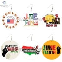 somesoor june 19th celebrate american freedom wooden drop earrings powerful fist juneteenth arts printed loops for women gifts