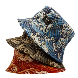 New Double Sided Bucket Hat Chinese Style Wave Pattern Basin for Women Panama Men Fishing Cap Summer Gorro Casquette Muts Caps