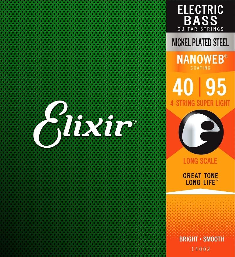 Cuerdas para bajo de acero niquelado Elixir con revestimiento NANOWEB, todos los modelos