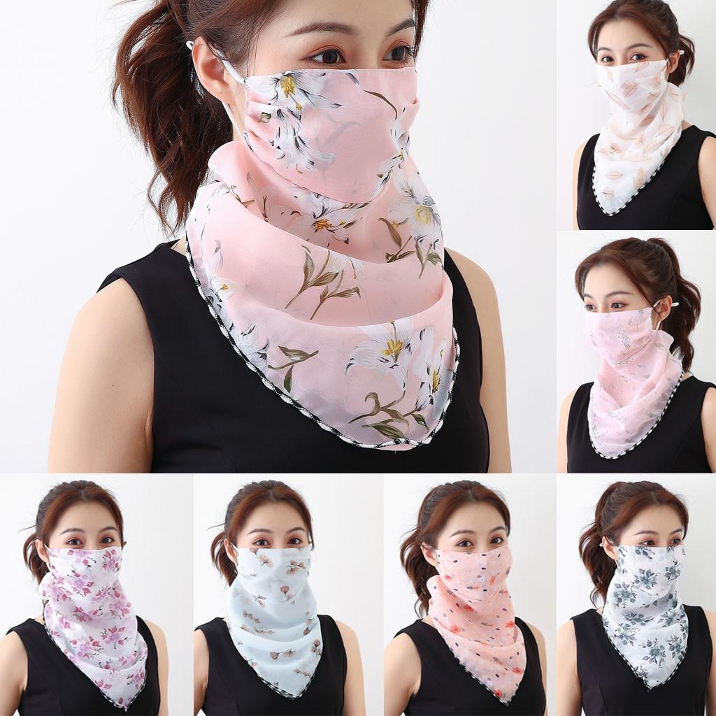 Bufanda con estampado de protección solar, cubierta de boca de ciclismo para mujer, bufanda de seda de chifón para exteriores, bufanda para el cuello a prueba de polvo, Bandana pasamontañas