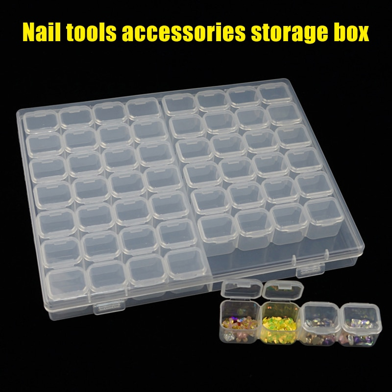 High Quality 56-Grid Nail Storage Box Plastic Storage Case for Women Nail Art Storage Tool