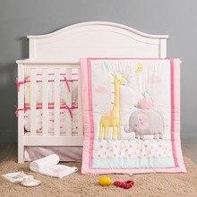Juego de cama de elefante rosa para bebé, decoración de parachoques para cuna, regalo para niña, 4 parachoques + edredón + funda de cama + falda de cama, 7 Uds.