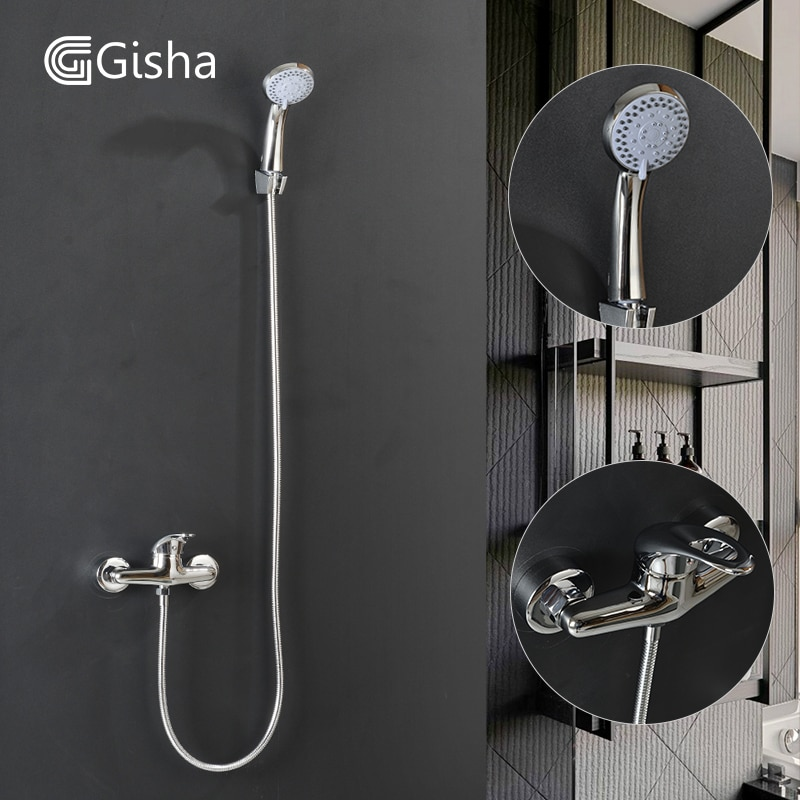 Gisha-صنبور دش الحمام الكلاسيكي ، صنبور خلاط مع رأس دش مثبت على الحائط G3016