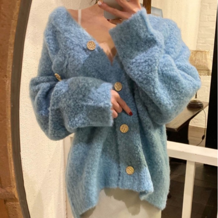 Ppshd Winter Korean Style Retro Style Fashionable V-neck Gentle Plush Loose Metal Buckle Long Sleeve