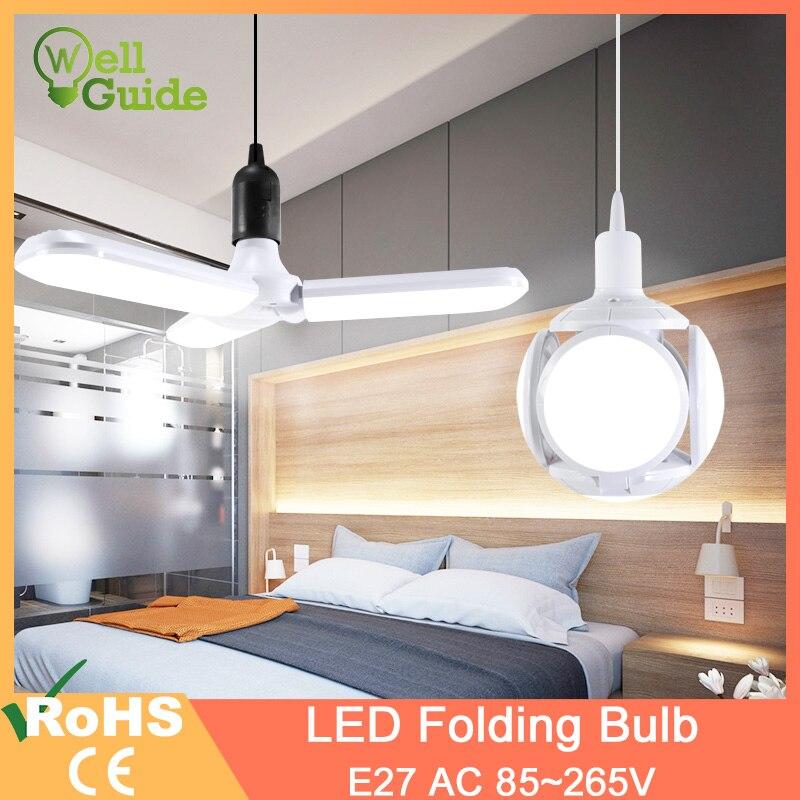Nueva Bombilla LED E27, 60W, 40W, 30W, 9W, luz LED de fútbol, AC110V, 220V, LED plegable, lámpara de hoja, Bombilla de lámpara, lámpara UFO, Bombilla LED para el hogar