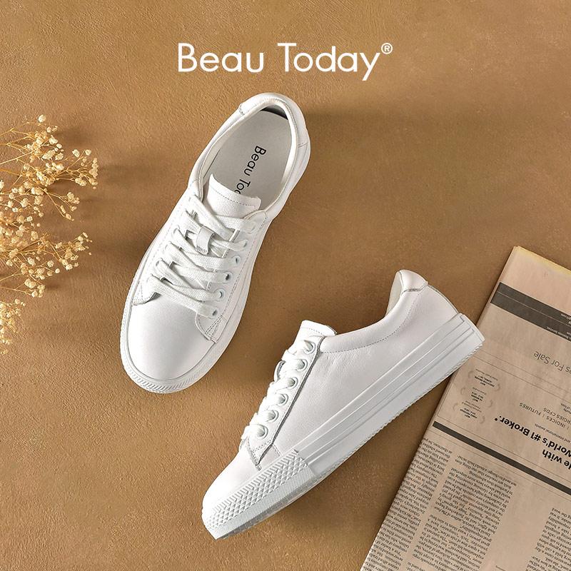 BeauToday-حذاء رياضي نسائي غير رسمي من جلد البقر الأصلي ، حذاء مسطح أبيض دائري من الأمام متقاطع ، صناعة يدوية ، 29217