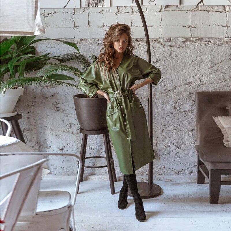Vestido elegante de tres cuartos de manga con cuello en V de tres cuartos delanteros con botones de cuero Vintage para mujer 2020 nuevo vestido de moda de verano