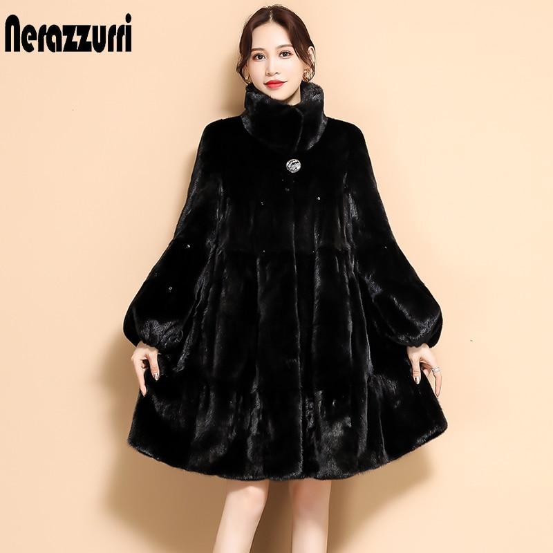 Nerazzurri hiver noir plissé fausse fourrure manteau à manches longues évasées col montant jupe douce grande taille moelleux fausse fourrure veste femmes