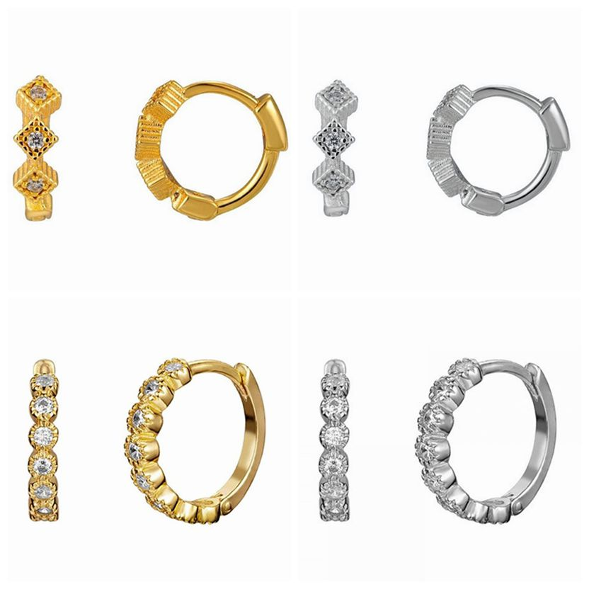 Серьги-кольца из серебра 925 пробы с пряжкой для ушей, не вызывают аллергию, серьги-кольца для женщин, золотые, серебряные, CZ, серьги с кристалл...