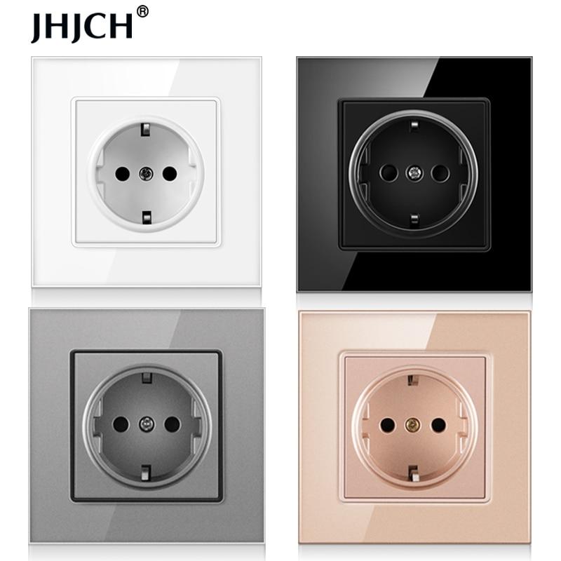 JHJCH wall crystal glass panel power socket plug has been grounded, 16a European standard power socket 86mm * 86mm