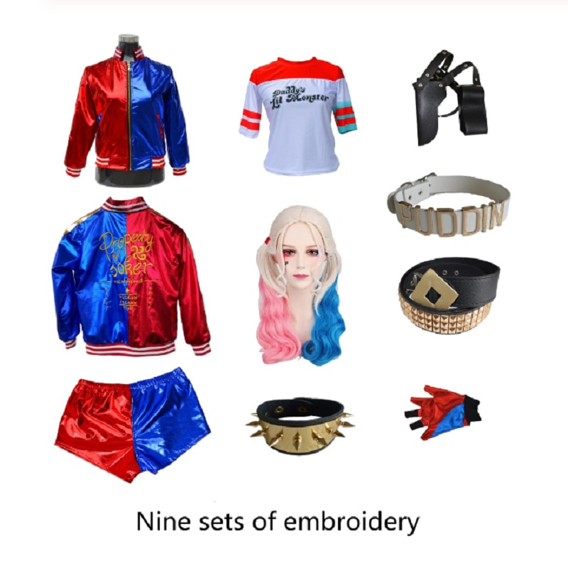 Full site Carnival Cosplay Costumes suicide Monster Kids Girls Party Joker Jacket Suit Wig Gloves Costumes