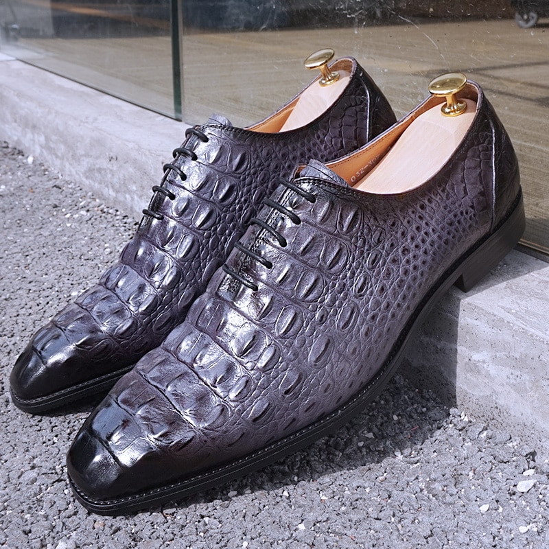 Italian Men Oxford Shoes Black Brown Gray Crocodile Prints Mens Dress Shoes Pointed Toe Lace Up Wedding Office Leather Shoes Men