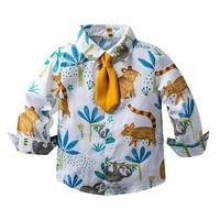 spring autumn kids shirts boys girls shirts long sleeve cartoon print kids clothes casual cotton shirts childrens clothing