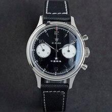SUGESS Mechanical Watch Seagull Movement 1963 Chronograph Pilot 38mm Black Dial Sapphire Waterproof