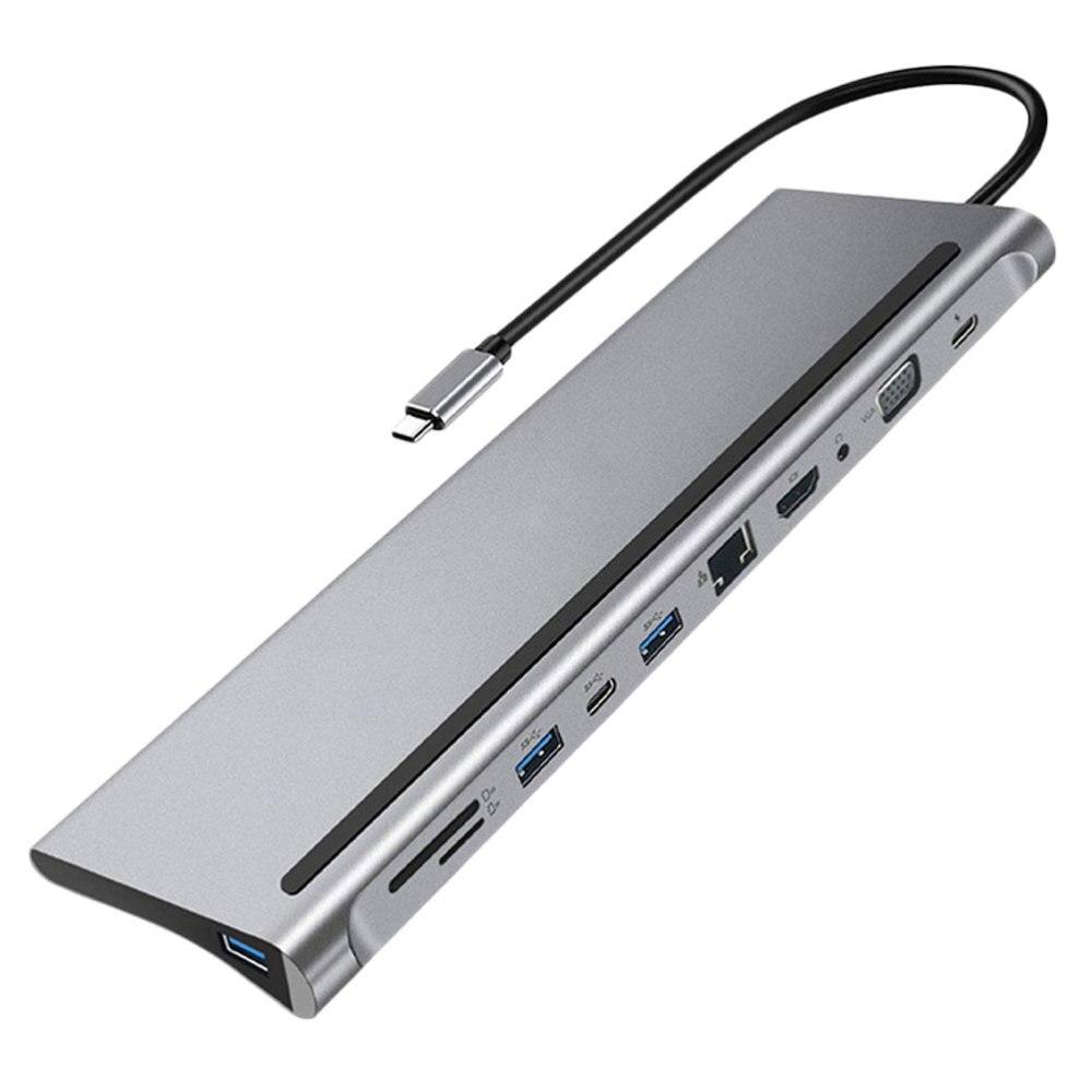 1 قطعة USB C Hub 11-in-1 محول دونغل مع نوع-C 87 واط PD شحن USB3.0
