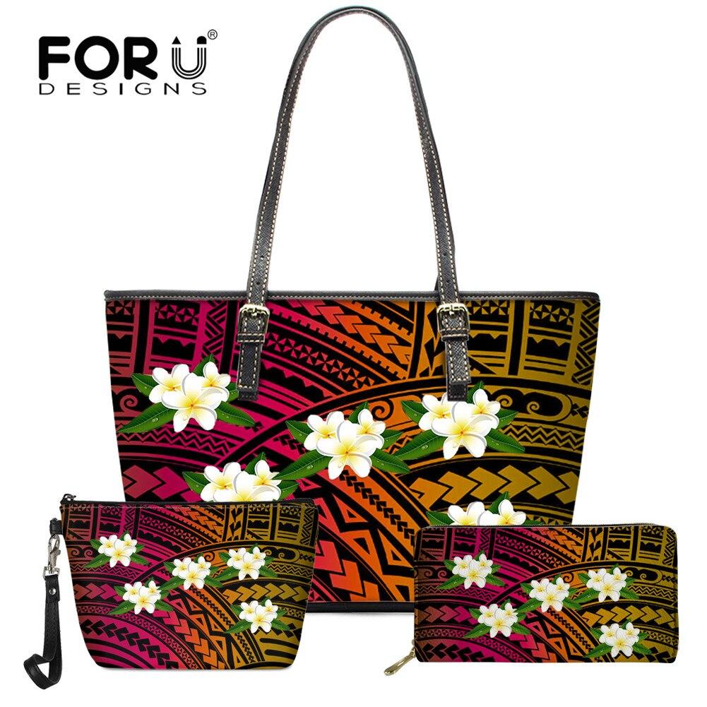 FORUDESIGNS New Fashion 3Pcs/Set Polynesia Plumeria Handbag Large Capacity Shoulder Bag PU Leather Totes Bag for Teen Girl 2021